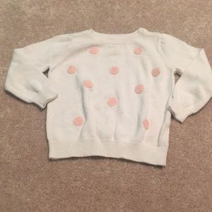 White and Pink Polka Dot Sweater Top 12-18